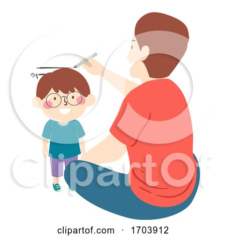 Kid Boy Man Father Son Measure Height Illustration by BNP Design Studio