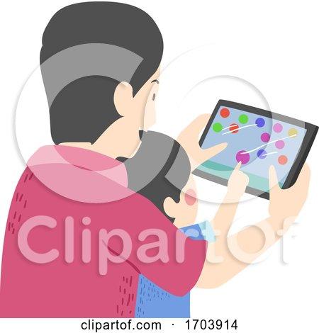 Kid Boy Man Father Son Games Tablet Illustration by BNP Design Studio