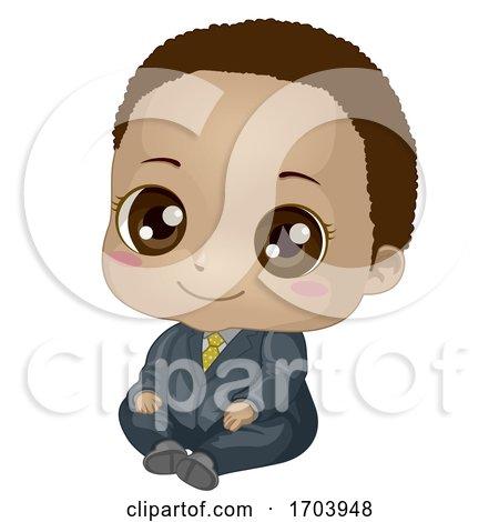 Kid Baby Boy Black Suit Illustration by BNP Design Studio