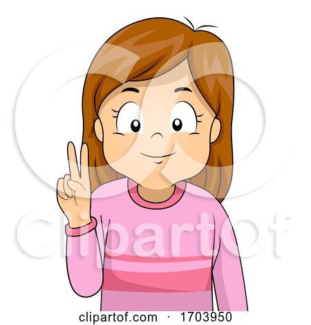 Kid Girl Sign Language Number Two Illustration by BNP Design Studio