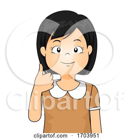 Kid Girl Sign Language Number Ten Illustration by BNP Design Studio