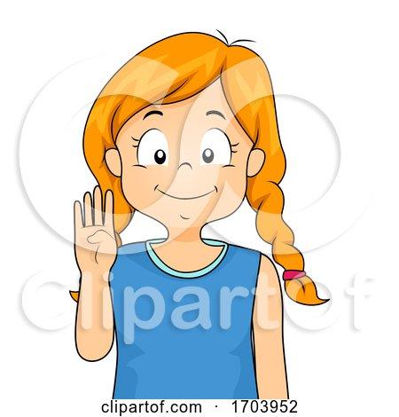 Kid Girl Sign Language Number Four Illustration by BNP Design Studio