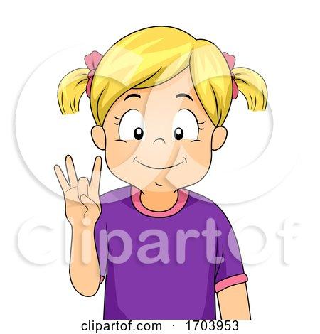 Kid Girl Sign Language Number Eight Illustration by BNP Design Studio