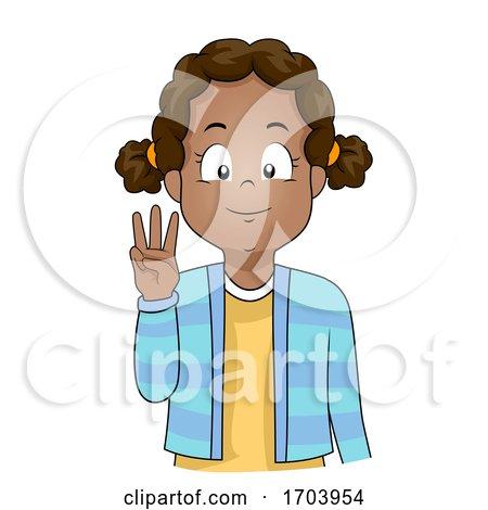 Kid Girl Black Hand Sign Language Number Six by BNP Design Studio