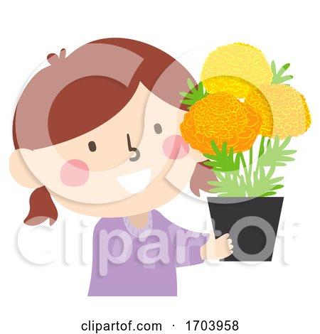 Kid Girl Marigold Flowers Altar Illustration by BNP Design Studio