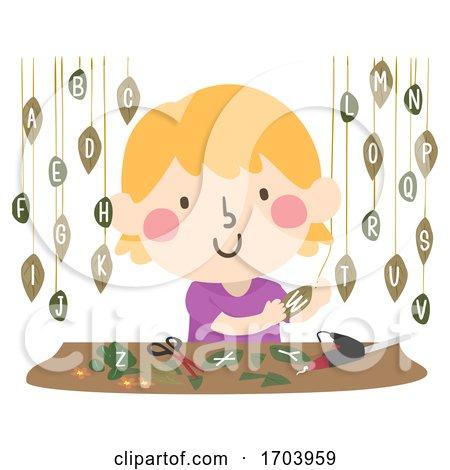 Kid Girl Leaf Art Hanging Leaves Illustration by BNP Design Studio