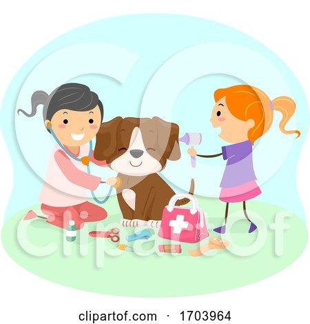 Stickman Kids Girls Vet Play Check up Illustration by BNP Design Studio