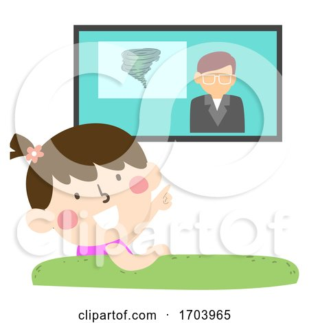 Kid Girl TV Warning System Devices Illustration by BNP Design Studio