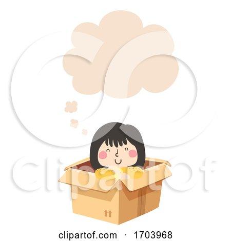 Kid Girl Thinking Cloud Illustration by BNP Design Studio