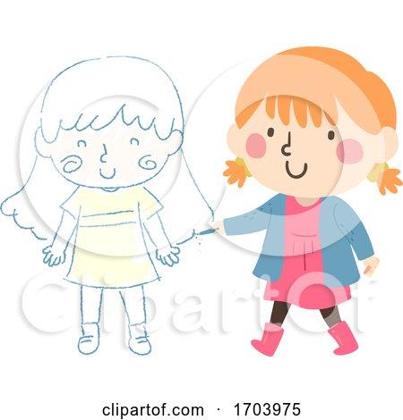 Kid Girl Draw Chalk Friend Illustration by BNP Design Studio