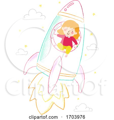 Kid Girl Draw Chalk Rocket Ship Illustration by BNP Design Studio