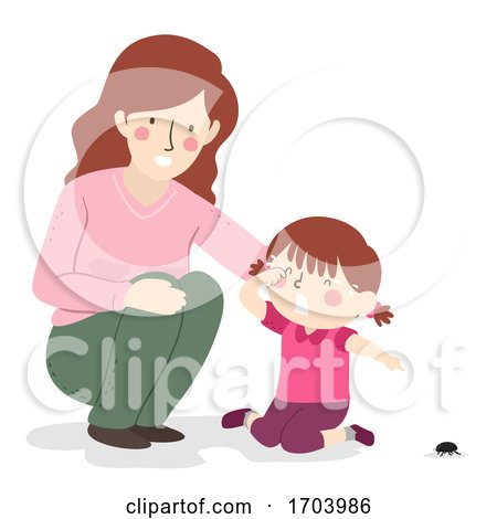 Kid Girl Mom Fear of Insects Illustration by BNP Design Studio