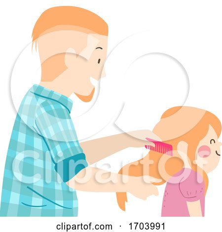 Kid Girl Father Daughter Comb Hair Illustration by BNP Design Studio