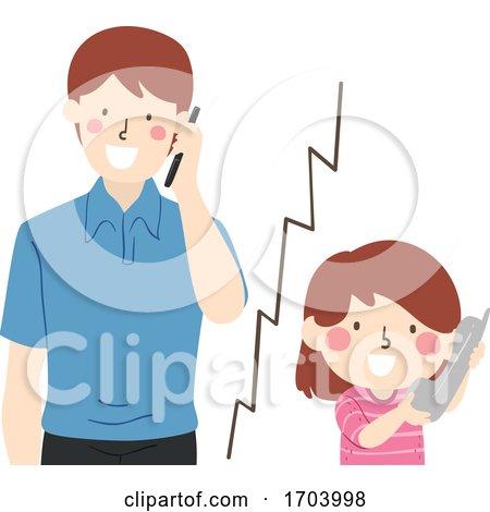 Kid Girl Call Dad Illustration by BNP Design Studio