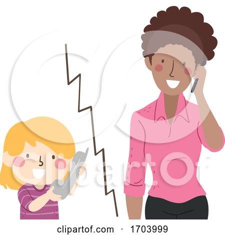 Kid Girl Call Teacher Illustration by BNP Design Studio