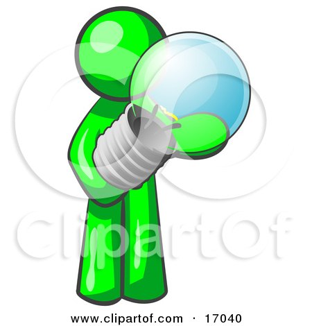 Lime Green Man Holding A Glass Electric Lightbulb, Symbolizing Utilities Or Ideas Clipart Illustration by Leo Blanchette