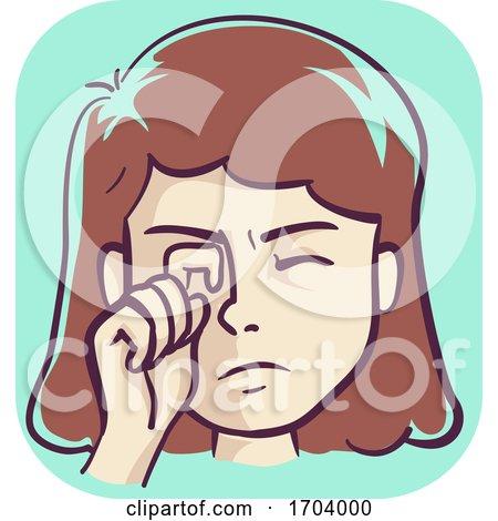 Girl Itchy Eye Pink Eye Symptom Illustration by BNP Design Studio