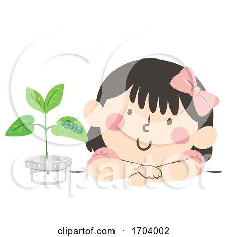 Kid Girl Adopt Caterpillar Illustration by BNP Design Studio