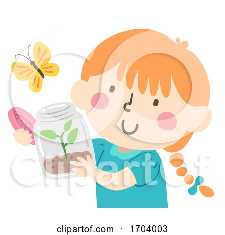 Kid Girl Release Butterfly Illustration by BNP Design Studio