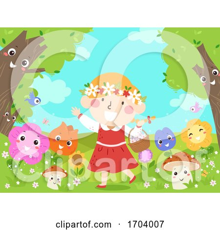 Kid Girl Mascot Fantasy Flowers Illustration by BNP Design Studio