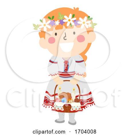 Kid Girl Ukrainian Girl Easter Basket Illustration by BNP Design Studio
