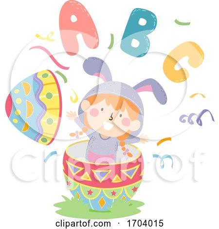 Kid Girl Bunny Easter Egg Illustration by BNP Design Studio