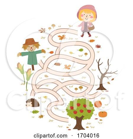 Kid Girl Autumn Collect Apple Maze Illustration Posters, Art Prints