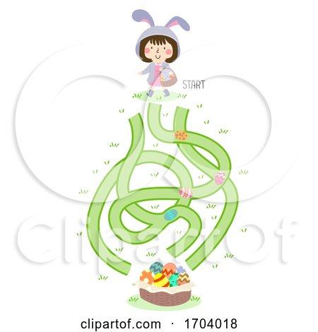 Kid Girl Bunny Maze Easter Illustration Posters, Art Prints