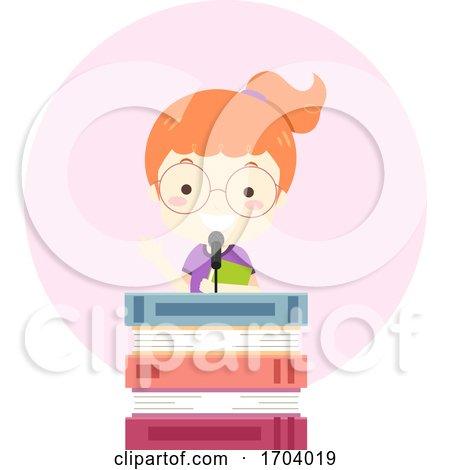 Kid Girl Books Lectern Speech Illustration by BNP Design Studio