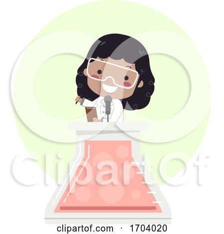 Kid Girl Black Glass Flask Speech Illustration by BNP Design Studio