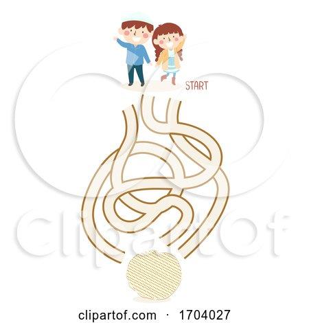 Kids Passover Afikoman Hunt Maze Illustration by BNP Design Studio