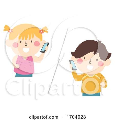 Kids Mobile Phone Call Illustration by BNP Design Studio