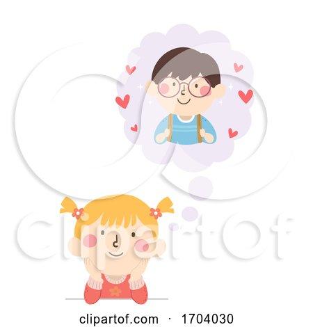 Kids Girl Think Cloud Boy Crush Illustration by BNP Design Studio