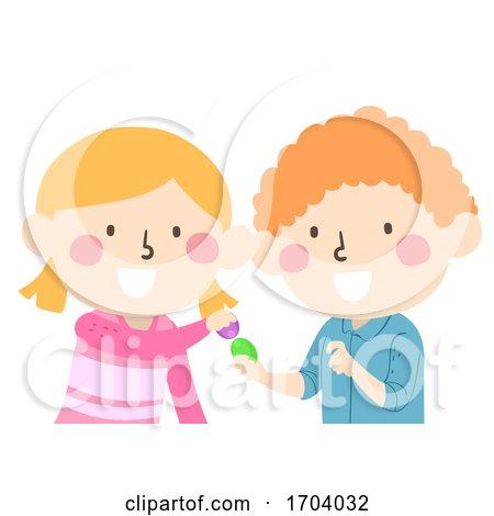 Kids Easter Egg Tapping Illustration by BNP Design Studio