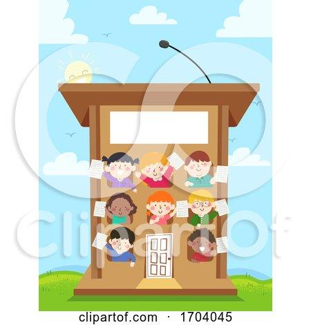 Kids Speech Podium Building Illustration by BNP Design Studio