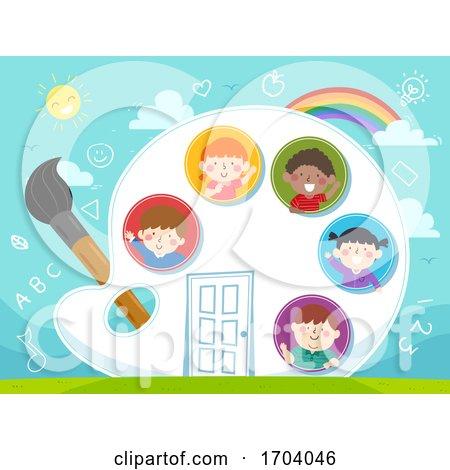 Kids Palette Paint Brush House Illustration by BNP Design Studio