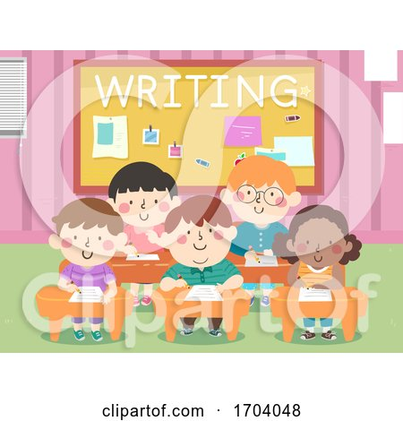 Kids Classroom Writing Illustration by BNP Design Studio