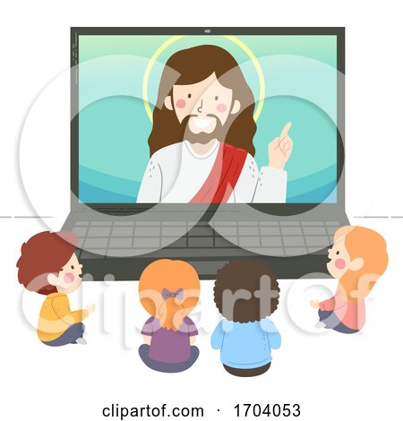 Kids Watch Jesus Laptop Illustration by BNP Design Studio