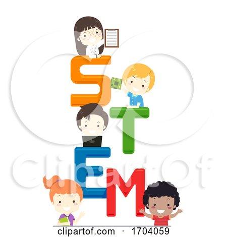 Kids Stem Lettering Illustration by BNP Design Studio