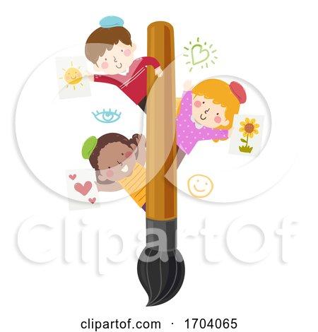 Kids Paint Brush Paintings Illustration Posters, Art Prints