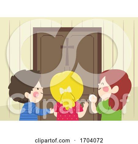 Kids Enter Door Cross Illustration by BNP Design Studio