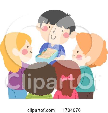 Kids Boy Share Snacks Illustration by BNP Design Studio