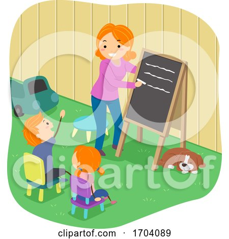 Kids Mom Home School Backyard Dog Illustration by BNP Design Studio
