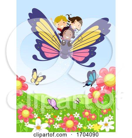 Stickman Kids Ride Butterfly Flower Illustration by BNP Design Studio