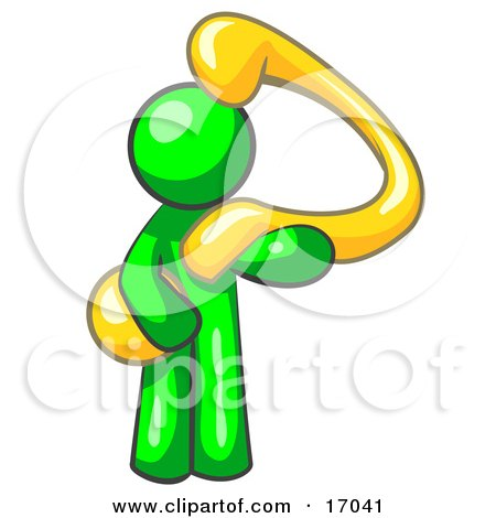 Lime Green Man Carrying A Large Yellow Question Mark Over His Shoulder, Symbolizing Curiousity, Uncertainty Or Confusion Clipart Illustration by Leo Blanchette