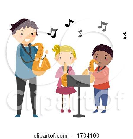 Stickman Kids Teacher Learn Saxophone Illustration by BNP Design Studio