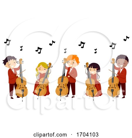 Stickman Kids Play Cello Illustration by BNP Design Studio