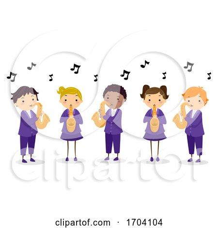 Stickman Kids Play Saxophone Illustration by BNP Design Studio