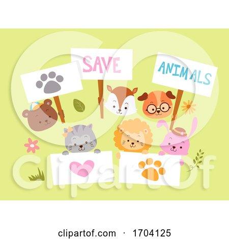 Save Animals Placards Design Illustration by BNP Design Studio