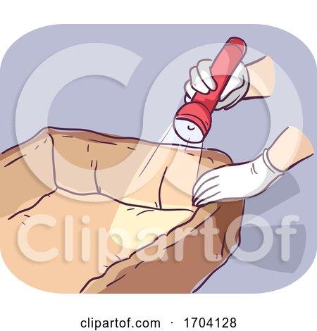 Hands Flea Inspection Pet Bedding Illustration by BNP Design Studio